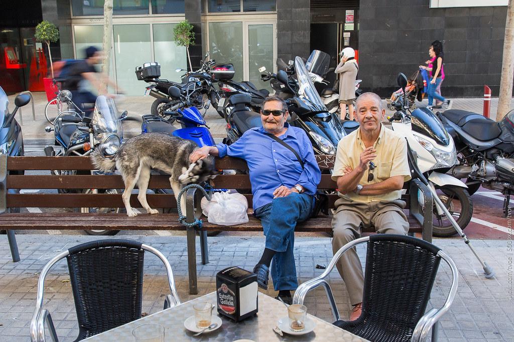 Пожилые мужчины и собака в Барселоне