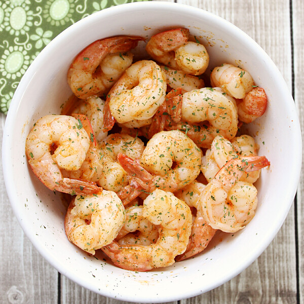 Quick and Easy Cajun Shrimp in a white bowl.