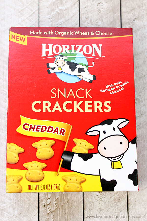 Horizon Cheddar Snack Crackers in the box.