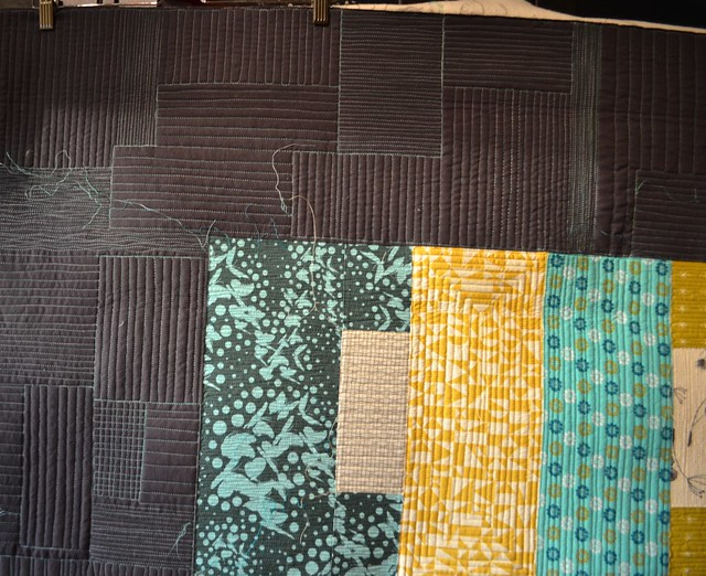 Quilting in progress, detail