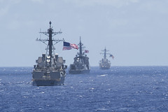 USS Sampson (DDG 102), left, JS Atago (DDG 177), center, and USS Fitzgerald (DDG 62) maneuver into position for a missile exercise March 24 during Multi-Sail. (U.S. Navy/MC3 Raymond D. Diaz III)