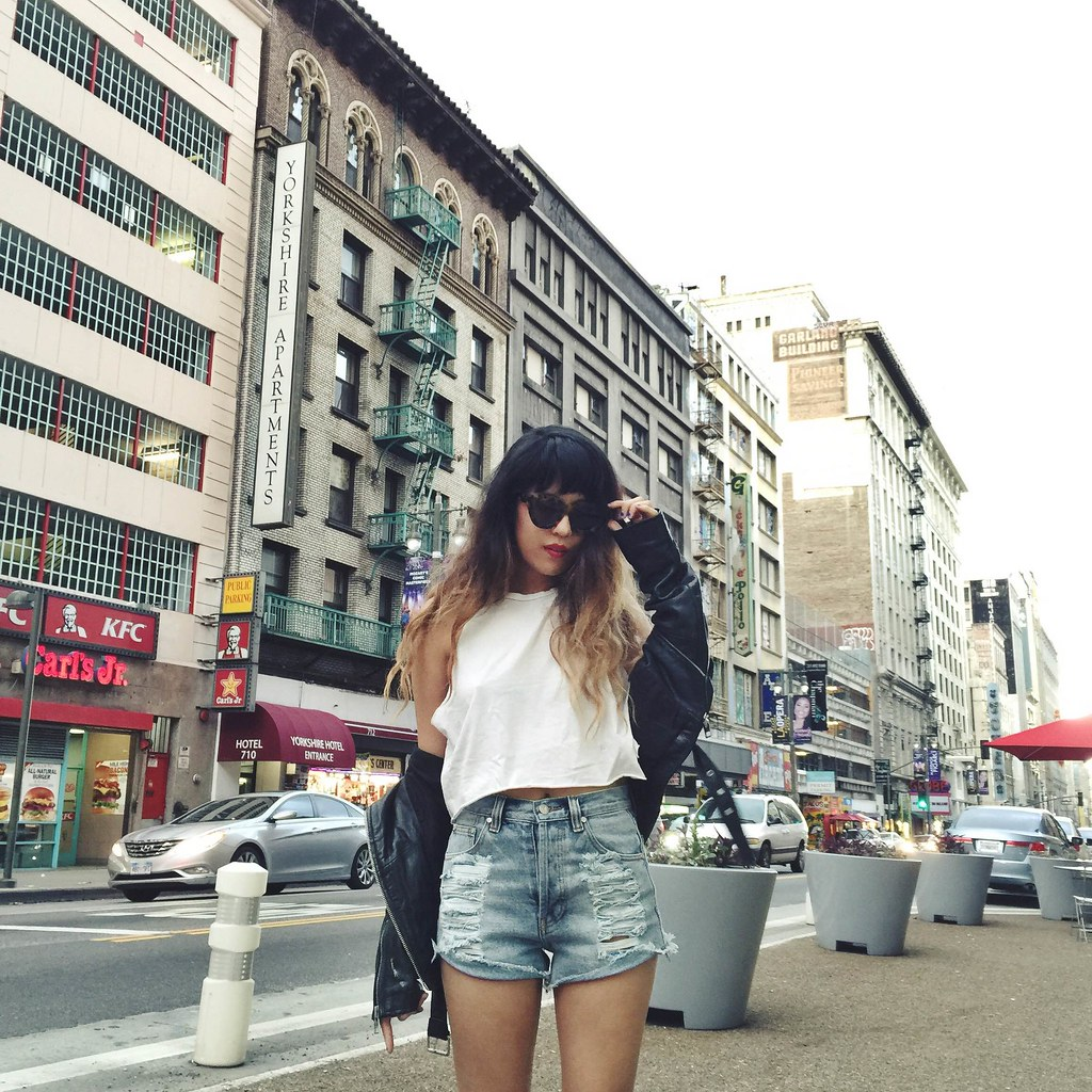 All Saints Balfern Jacket, PacSun shorts, Zara studded boots, Karen Walker Anytime Sunglasses in tortoise