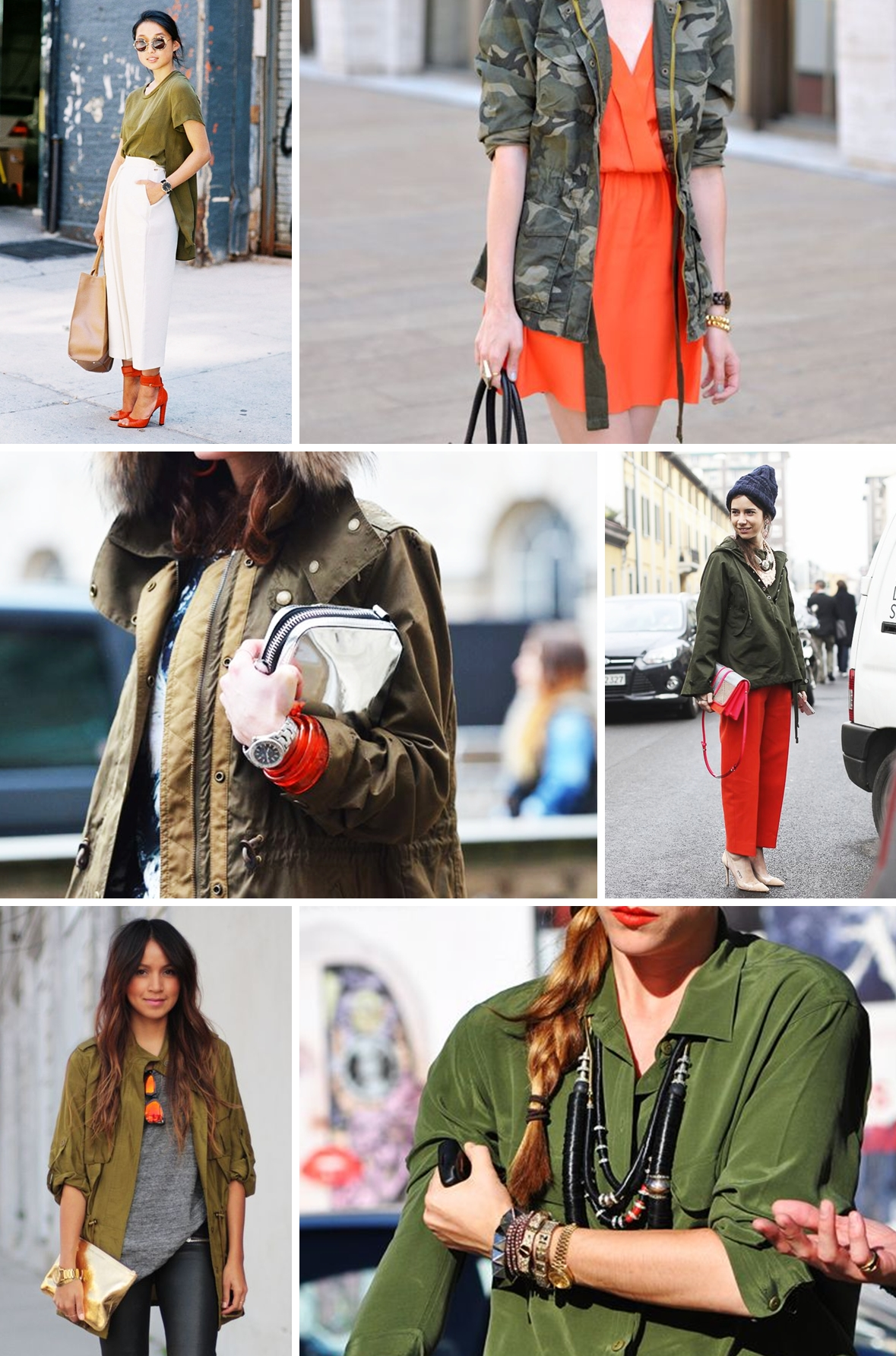 colours khaki and orange