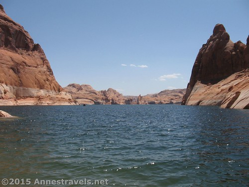 Looking out over the waters of Lake Powell from the bottom of Hole in the Rock, Glen Canyon National Recreation Area, Utah