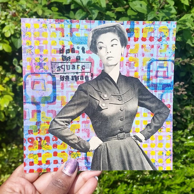 Don't be a square darling! #mailartists #mailart #mixedmediaartist #mixedmedia #mailartmonday #art #square #vintage #beatrijs #vintagewoman #swap #swapbot #squared #snailmailrevival #snailmailing #snailmail #mail #sent #handmade #postcard