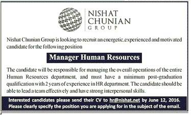 Nishat Group Manager Human Resource Required