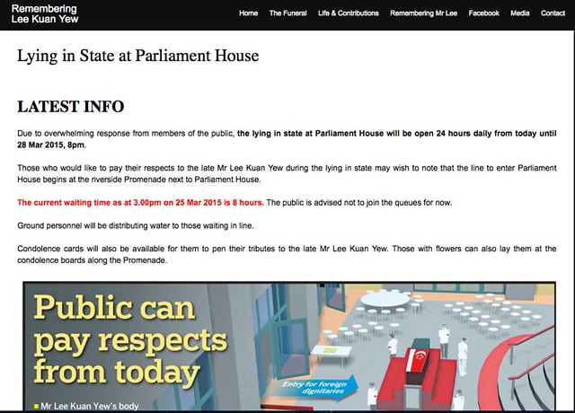 screenshot: Remembering Lee Kuan Yew: Lying in State at Parliament House - Latest Info. Open 24 hours daily.