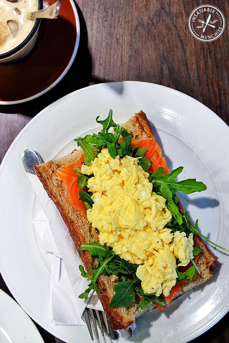 Free range scrambled eggs, $15