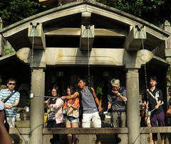 Platform that overhangs the mountain at the temple, Kyomizu-dera (Buddhist Temple), Kyoto, Japan, July 2014