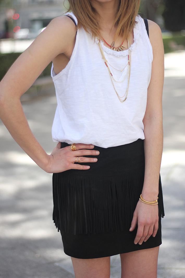 Fringed Black Skirt heels denim jacket14