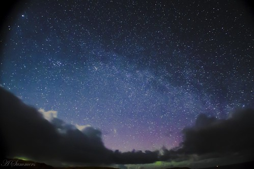 Milky Way With Distant Aurora