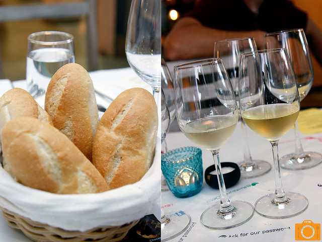Brasserie Cicou bread and wine