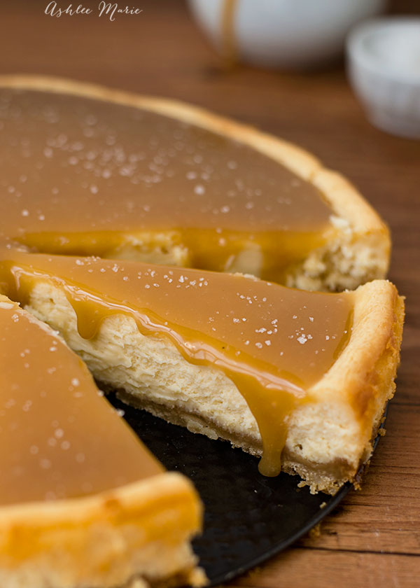 this salted caramel cheesecake with a shortbread macadamia nut crust is beautiful and delicious. A huge favorite at our house