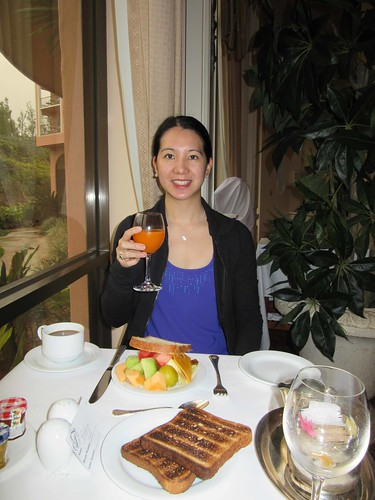 Mei at breakfast at Windows Restaurant