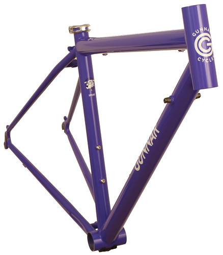 "<p>Front view of Gunnar Sport in Purple Velvet.  This 50cm size is the smallest stock 700 size with an actual seat tube of only 41.5cm.  The Sport provides a smooth ride for distance oriented cyclists.  Note the built-in head tube extension - the so-called ""fat lip"", which allows a more comfortable fit for all-day riding.</p>"