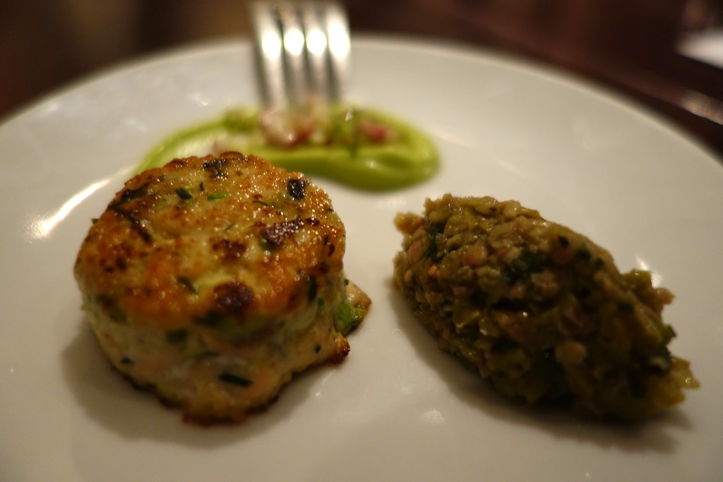 Salmon fishcake, celery, radish, avocado and tapenade, Pure Taste, Westbourne Grove