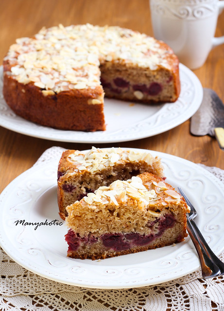 Cherry and almond topping coffee cake
