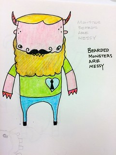 Bearded Monsters are Messy. Pen and crayon.