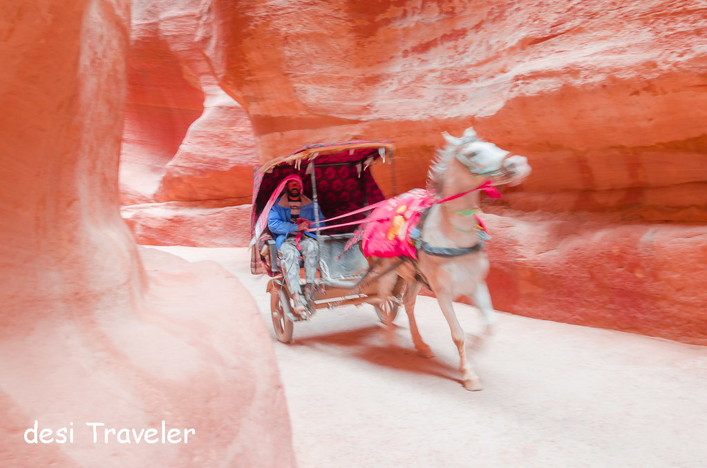 A Horse Carriage in the narrow gorge Petra