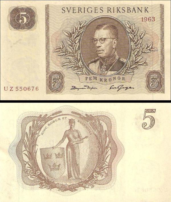5 Korún Švédsko 1962-3, P50