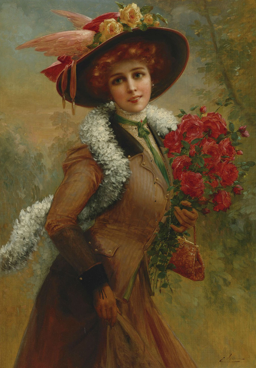 Elegant Lady with a Bouquet of Roses by Emile Vernon, Date unknown