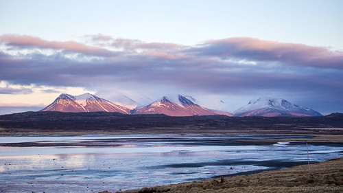 sunset sea 3 mountains water clouds reflections landscape three iceland widescreen fjord oru 169 lastlight 2016