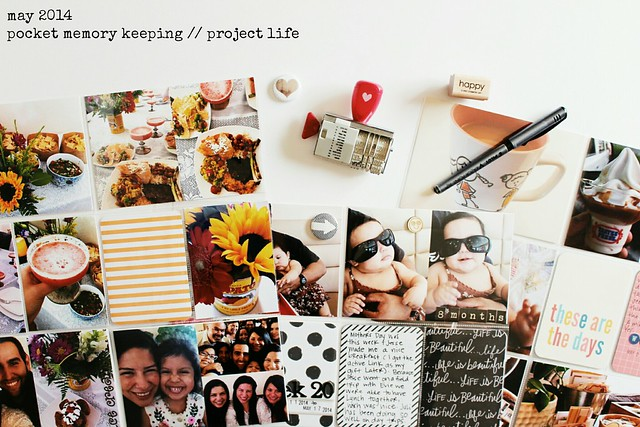 august 2014 (and may 2014!) layouts (pocket memory keeping / project life)