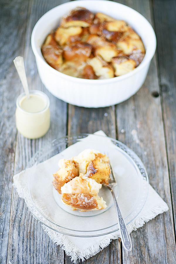 doughnut bread pudding with espresso creme anglaise