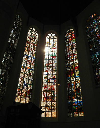 Stained Glass Windows in the Old Church in Delft, Holland
