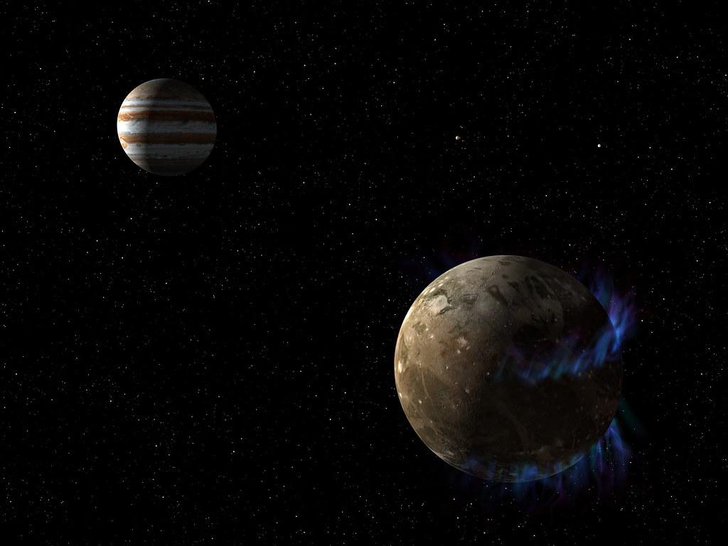 Ganymede orbits the giant planet Jupiter