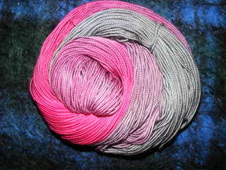 Magenta mouse, merino sock yarn