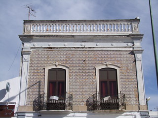 Tiled frontage with aerial and gull