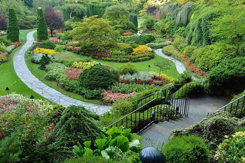 The Sunken Garden at Butchart Gardens, Brentwood Bay, Victoria, Vancouver Island, British Columbia, Canada