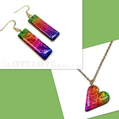 """LOVE"" stamped earrings & pendant polymer clay jewelry"