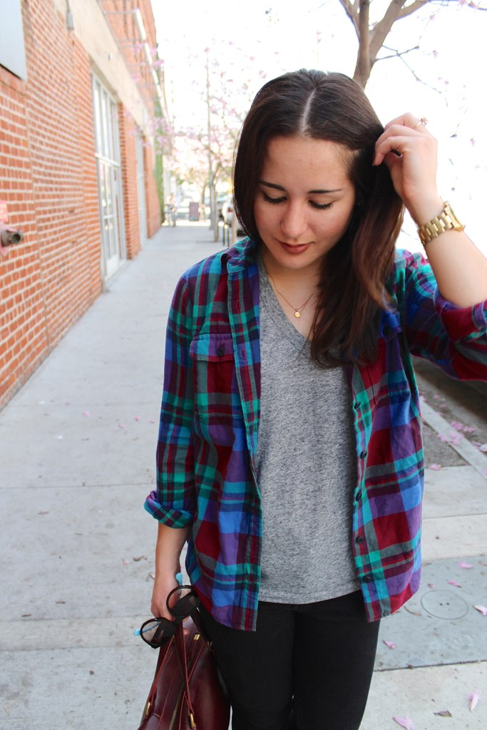 layered J. Crew plaid shirt