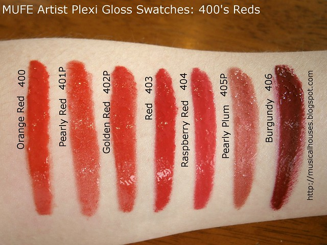 MUFE Artist Plexi Gloss Swatches 400s shades
