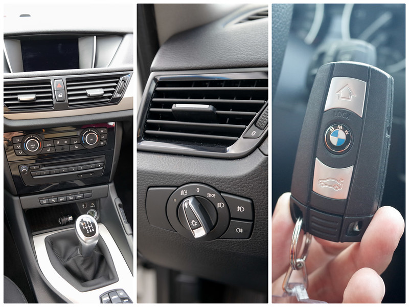 【BMW X1 內裝配備】左:中控板;中:自動大燈;右:電子鑰匙