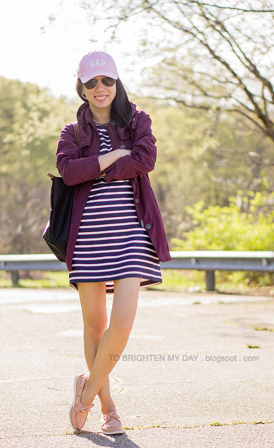 pink cap, burgundy jacket, striped dress, pink boat shoes