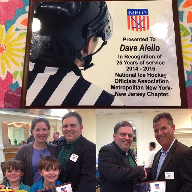 On Sunday I was recognized by the Metro NY-NJ Chapter of NIHOA as a member of their organization for 25 years.  Thanks to Kathleen, Jimmy, and Peter, and to my fellow officials for making this milestone possible.  See you on the ice again next Fall.