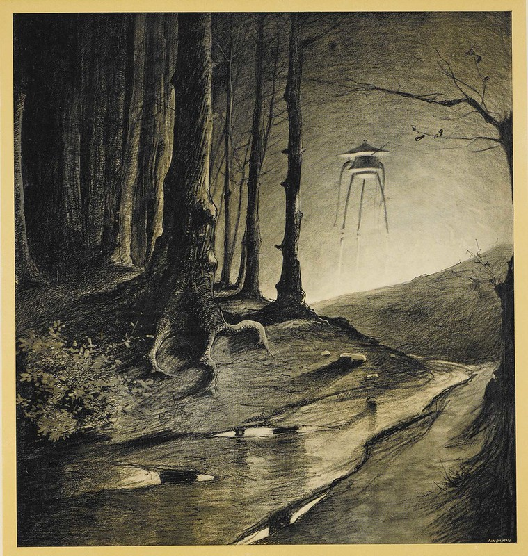 "HENRIQUE ALVIM CORRÊA - Martian in the Forest, from The War of the Worlds, Belgium edition, 1906(illustration is featured in Book I- The Coming of the Martians, Chapter IX- ""The Fighting Begins,"") print version"