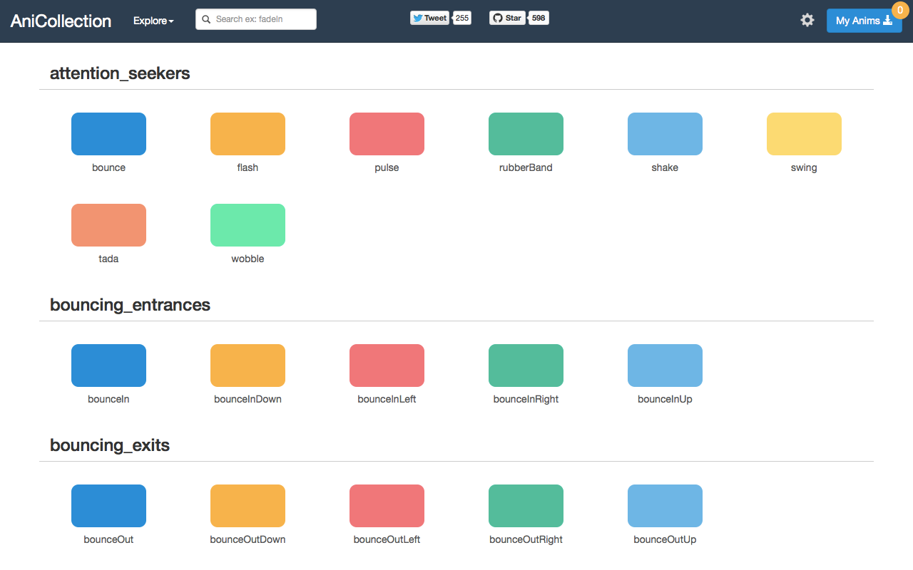AniCollection - The easiest way to find, use and share CSS3 animations.
