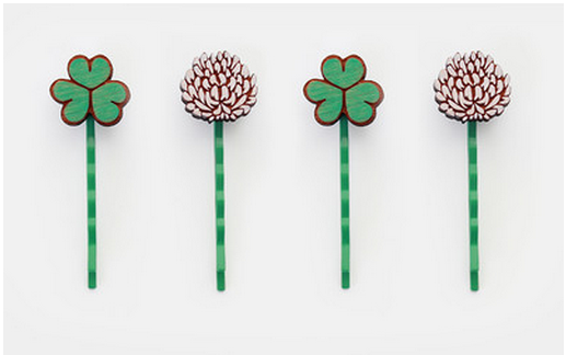 hey chickadee clover hair clips