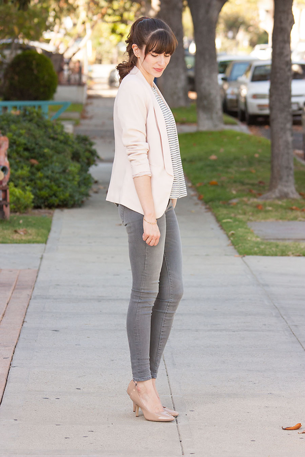 Blush Blazer, Grey Jeans, Striped Tee