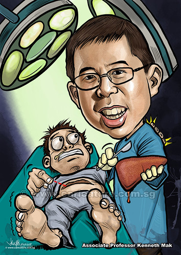 Kenneth Mak digital caricature liver transplant surgeon (watermarked)