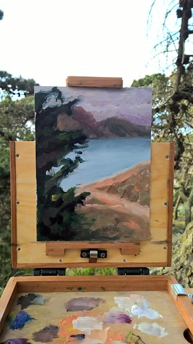 Painting At Baker Beach from the hill (closeup).