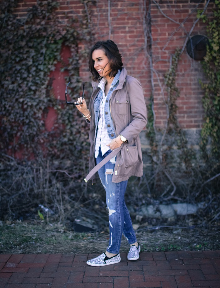 a viza style. andrea viza. fashion blogger. dc blogger. jcrew button down. current elliott stiletto jeans. joie sneakers. casual style. dc style. anorak jacket. 7