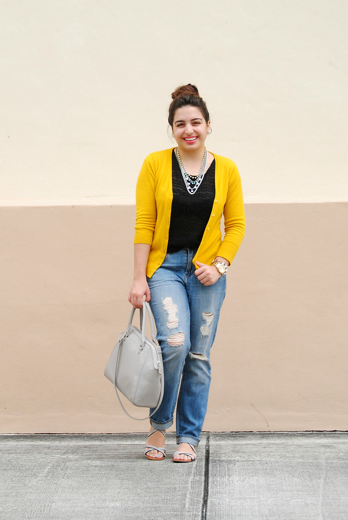 J. Crew Factory distressed jeans outfit // ModCloth honey charter school cardigan