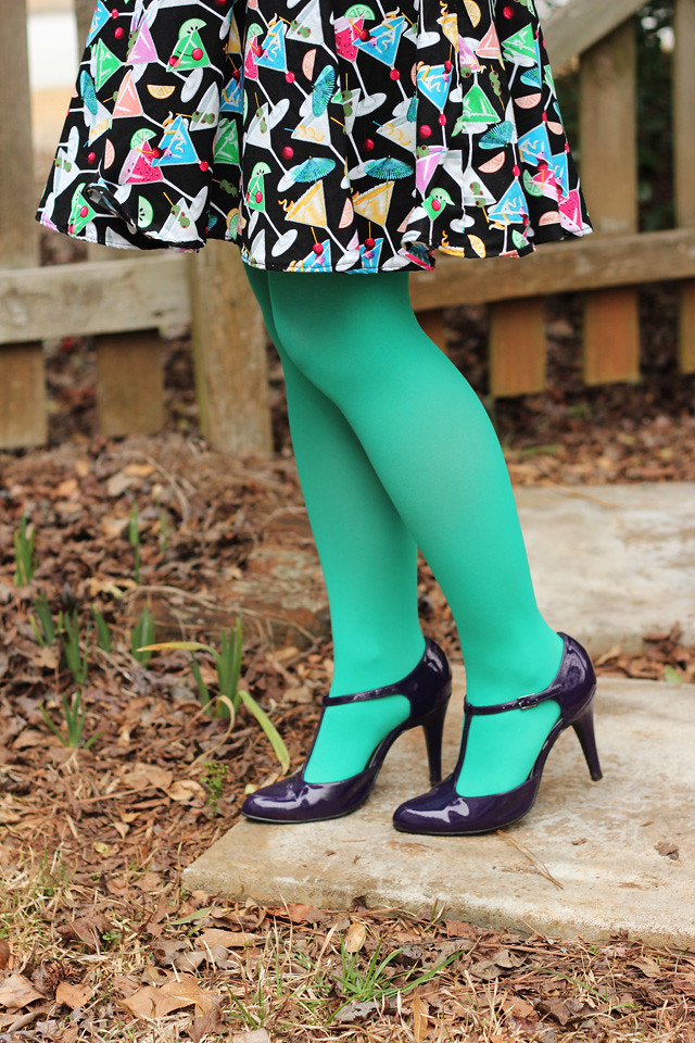 Martini Print Dress, Light Green Tights, and Shiny Purple Heels