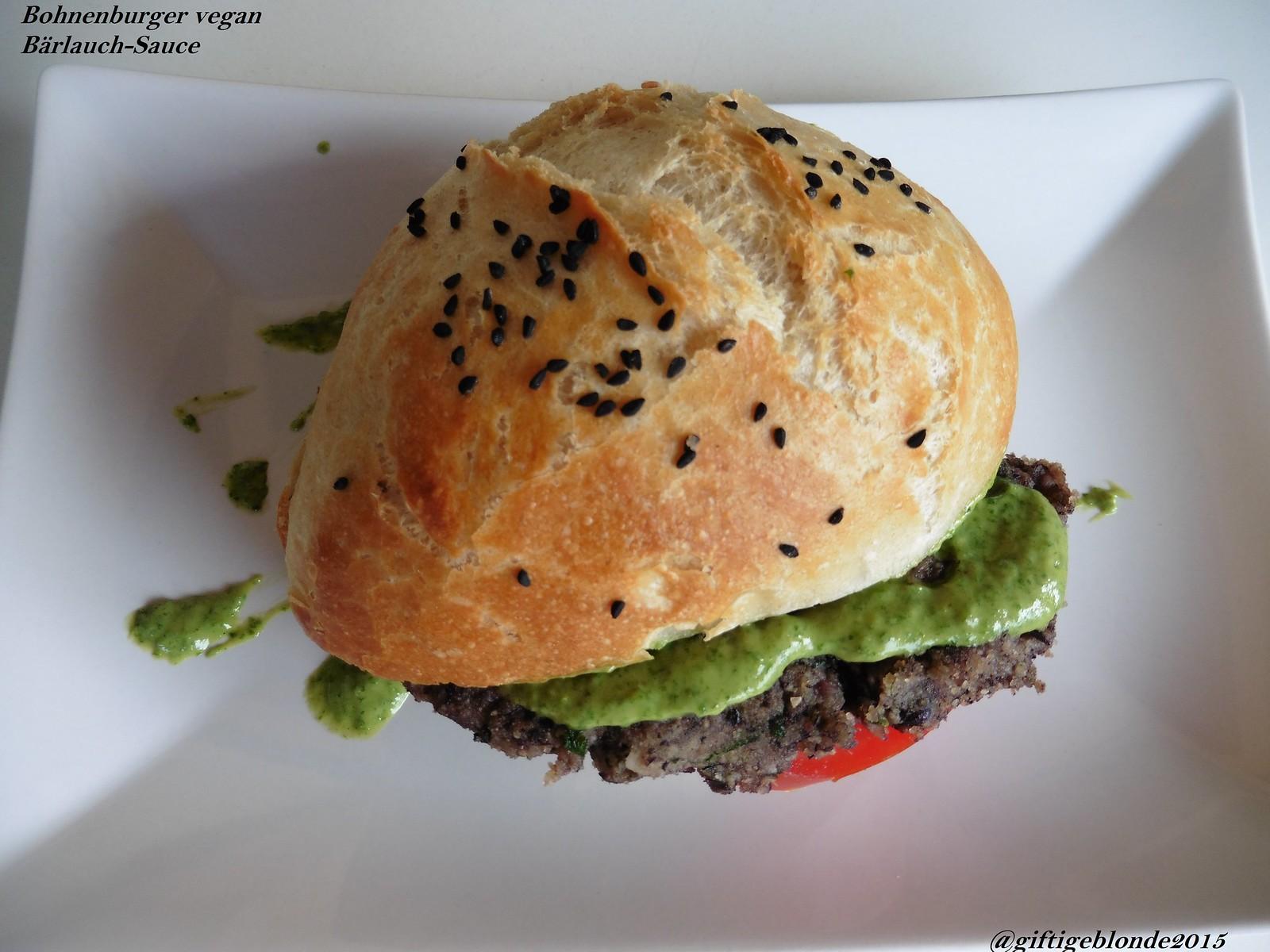 veganer Bohnen Burger, Bärlauch Sauce