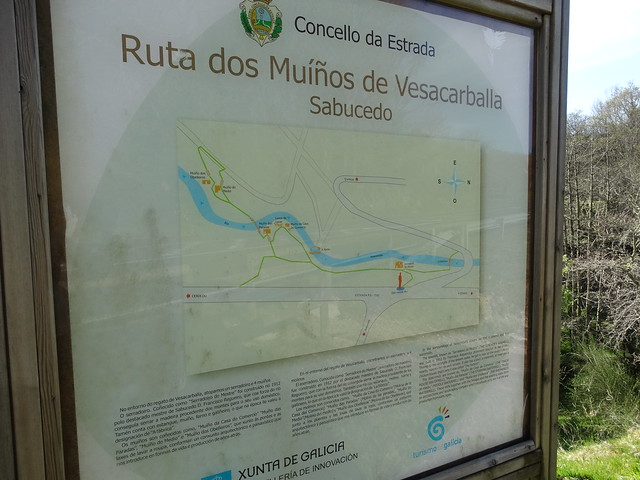 Panel Informativo Ruta dos Muíños de Vesacarballa en Sabucedo
